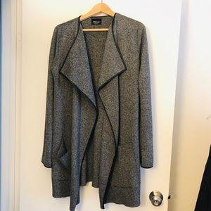 Zara knit faux leather trim cardigan